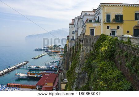 Italy Campania Sorrento bathing establishments seen from the old town