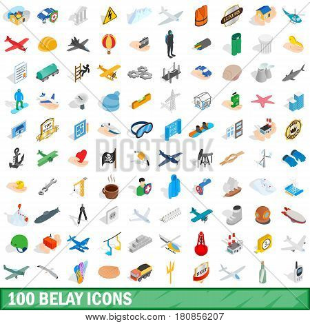 100 belay icons set in isometric 3d style for any design vector illustration
