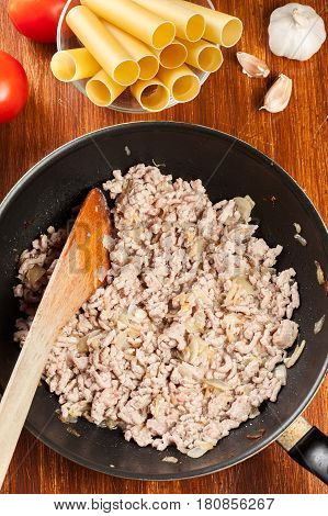 Minced Meat Fried With Onions And Garlic In The Frying Pan. Prep