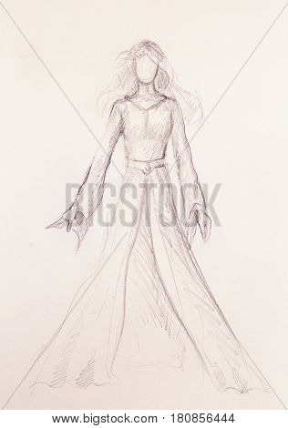 Sketch of mystical woman in beautiful dress inspired by middle age design