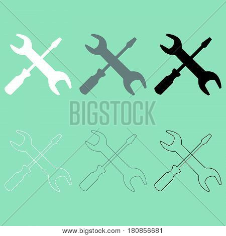 Screwdriver and spanner wrench it is  icon.