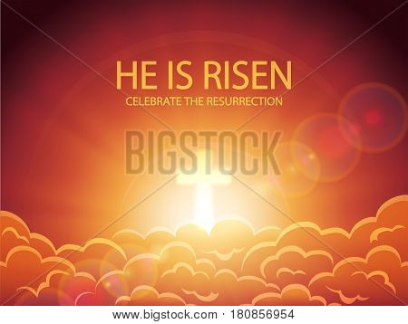 Religious background, cross against the orange sky with clouds, sun rays and lettering He is risen, Easter theme, illustration.