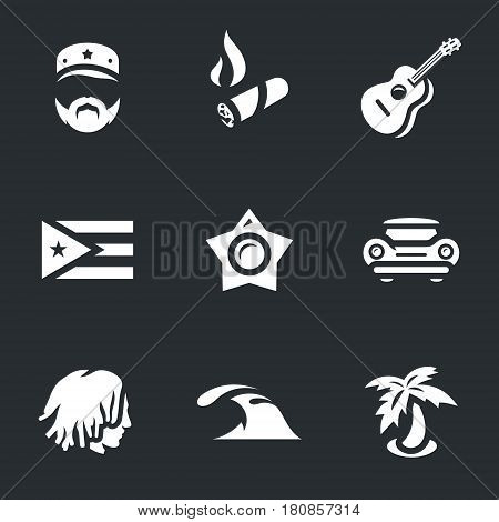 Soldier, cigar, guitar, flag, star, car, rastaman, sea, island.