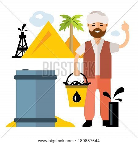 Oilman with a bucket fills a barrel with fuel. Isolated on a white background