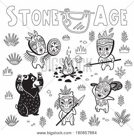 Prehistoric hunting for a bear in outline. Fantasy children s vector illustration. Black and white print with tribe of cavemen in masks around a fire with spears and clubs. Coloring page