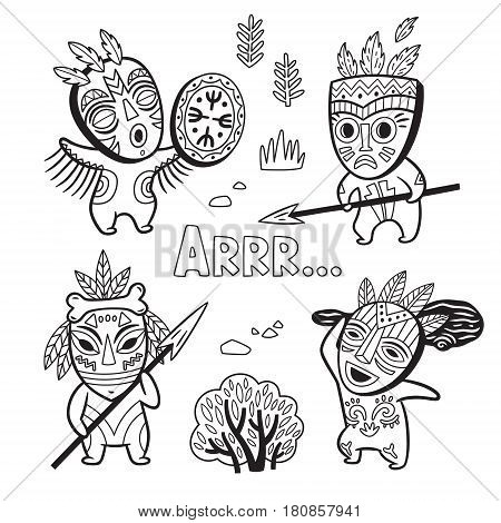Collection of cartoon outline caveman in masks. Black and white fantasy children vector illustration. Tribe of primitive hunters. Coloring page