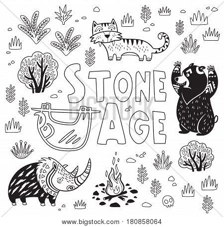 Outline vector print with cartoon prehistoric animals in the forest. Fantasy black and white children is illustration