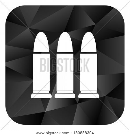 Ammunition black color web modern brillant design square internet icon on white background.