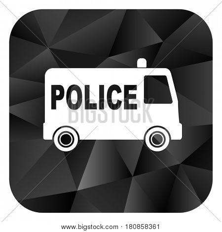 Police black color web modern brillant design square internet icon on white background.