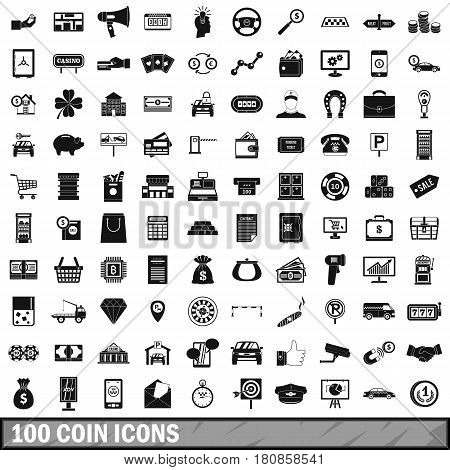 100 coin icons set in simple style for any design vector illustration