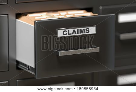 Claims Files And Documents In Cabinet In Office. 3D Rendered Ill