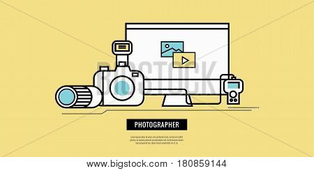 Photography equiment icons. website banner template poster. flat line design. vector illustration
