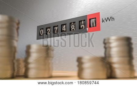 Expensive Energy And Power Consumption Concept. Coins In Front O