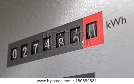 3D Rendered Illustration Of Electricity Meter. Power Consumption