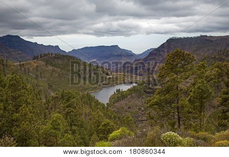 Central Gran Canaria edge protected area of Integral Nature Reserve Inagua reservoir Mulato