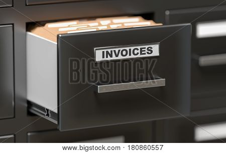 Invoices Documents And Files In Cabinet In Office. 3D Rendered I