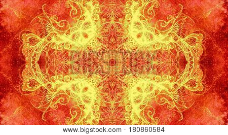 Ornamental mandala. Original hand draw and computer collage. Color effect