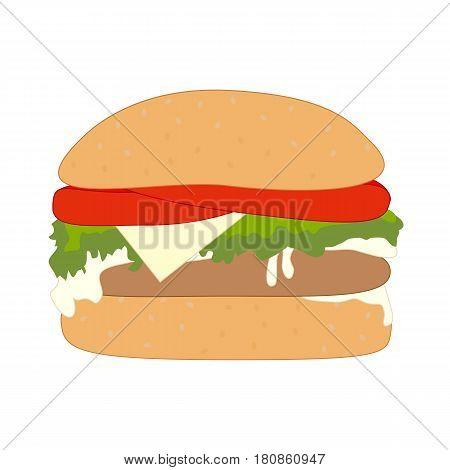 One delicious hamburger isolated on white background. Vector illustration.