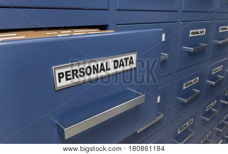 Personal Data Protection And Privacy Concept. A Lot Of Cabinets