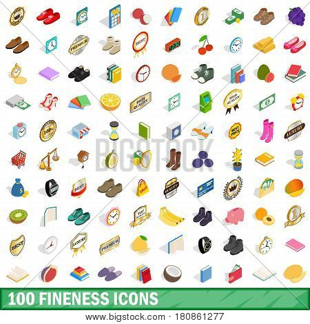 100 fineness icons set in isometric 3d style for any design vector illustration