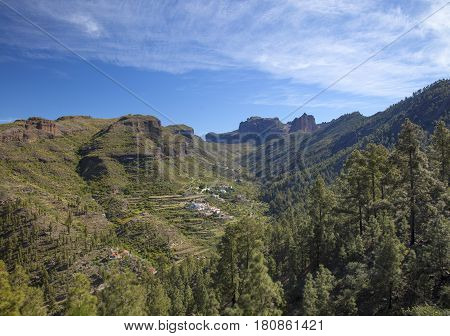 Central Gran Canaria, View Towards Small Settlement Juncal De Tejeda
