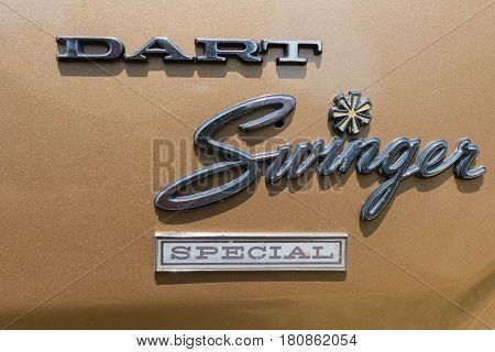 Dodge Dart Swinger Emblem On Display