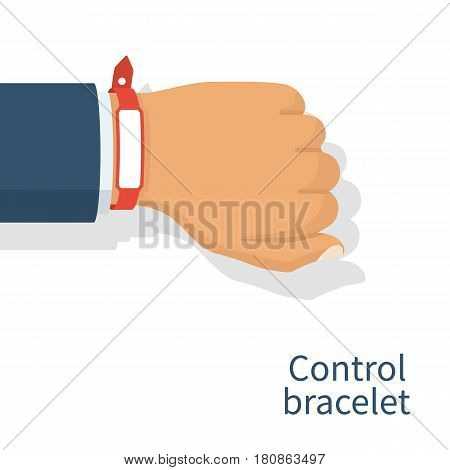 Red wristband on hand man. Blank rubber bracelet use for advertising, promotion. Control bracelet.