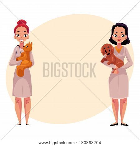 Two women, female veterinarians, vets in medical coats holding pets - cat and dog, cartoon vector illustration with space for text. Female vets, veterinarian doctors holding pets