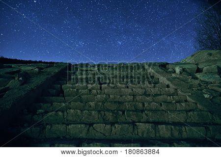 Upstairs and night sky full of stars