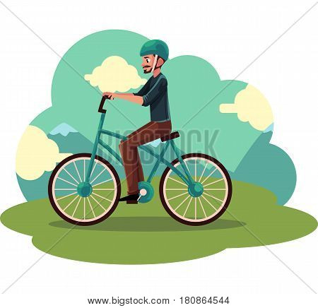 Young man, guy riding urban bicycle, cycling in helmet, cartoon vector illustration. Full length, side view portrait of young man cycling in countryside,