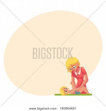 Young mother changing her baby's diaper, nappy, cartoon vector illustration with space for text. Blond mother changing diape, nappy for her baby, child care concept