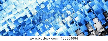 Abstract image 3:1 aspect ratio in futuristic technology style. Horizontal blue geometric background.
