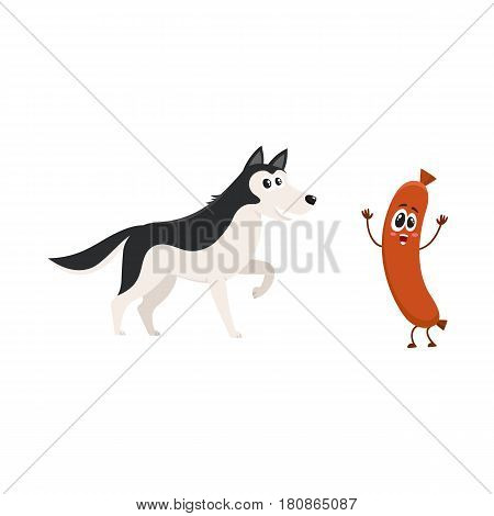 Cute black and white Husky dog and sausage characters, cartoon vector illustration isolated on white background. Funny husky dog and sausage character with human face and raised arms