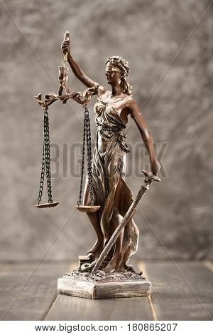 Close-up View Of Antique Statue Of Lady Justice, Law Concept