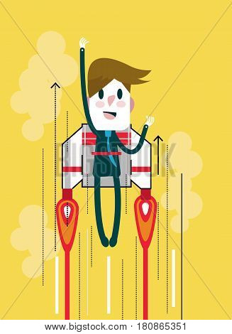 Flying businessman with jetpack. Start up and Leadership concept. flat thin line design elements. vector illustration