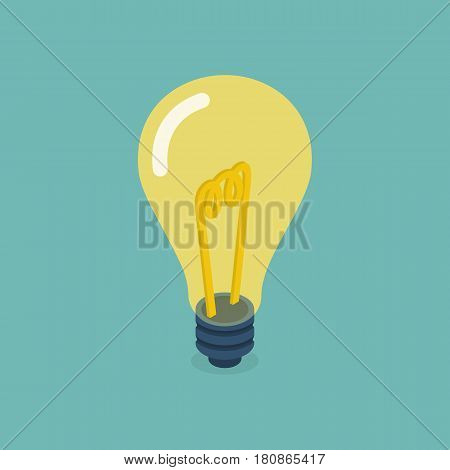 Isometric bulb design. Idea concept, solution innovative technology. Creative idea icon, yellow light. Vector flat style. Electric lamp. Invention, eureka.