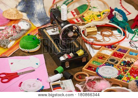 sewing accessories top view, seamstress workplace, many object for needlework, embroidery, handmade and handicraft