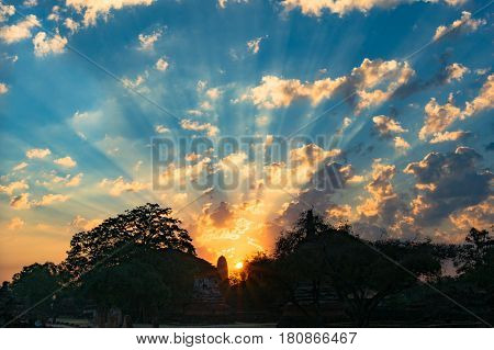 Picturesque Sunrise Sky With Ancient Stupa Silhouette