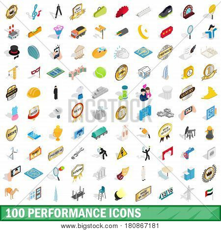 100 performance icons set in isometric 3d style for any design vector illustration