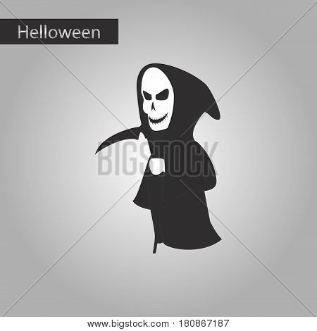 black and white style icon of halloween death scythe