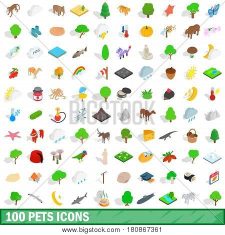 100 pets icons set in isometric 3d style for any design vector illustration