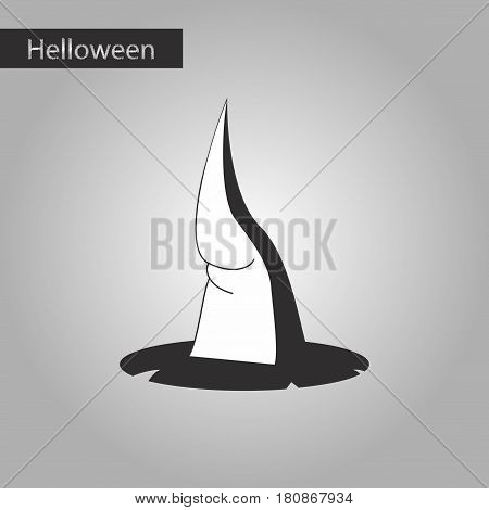 black and white style icon of witch hat