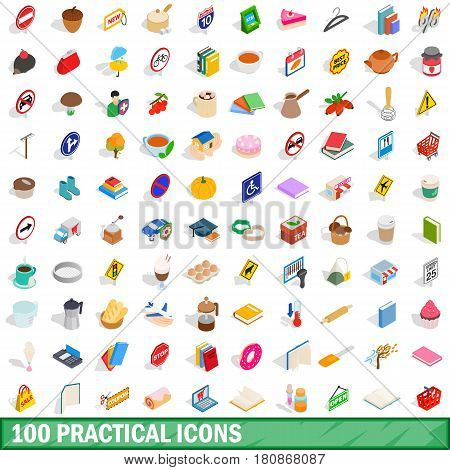 100 practical icons set in isometric 3d style for any design vector illustration