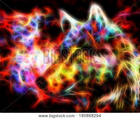 Fire wolf. Fractal and fire effect. Computer collage