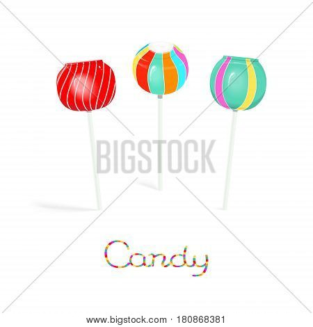 Colored candy swirl lollipops on the stick isolated on white background