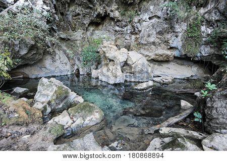 Fresh Water Lake Near A Cave At Vang Vieng