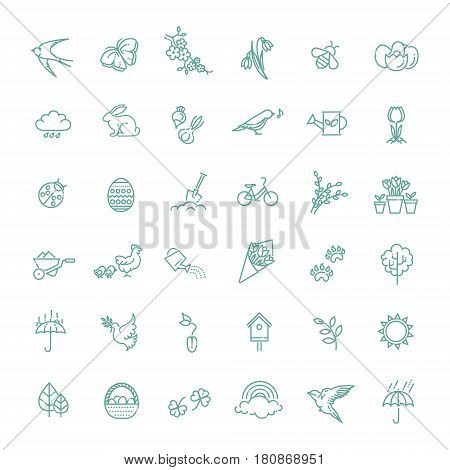 vector set of outline icons spring. Springtime