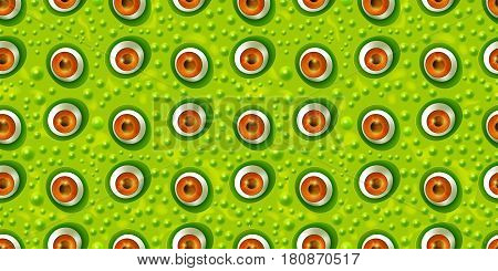 Abstract green monster eye seamless pattern in cartoon style. Surrealism background. Eyeballs background for Halloween. Vector illustration