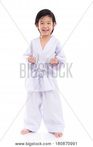 Cute Asian child in White Kimono on White Background