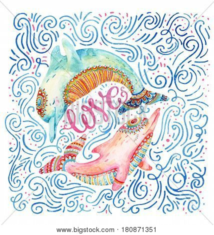Watercolor pair of lovely dolphins surrounded by doodle wave dots dash on white background. Love concept in cartoon style. Hand painted cute animal illustration